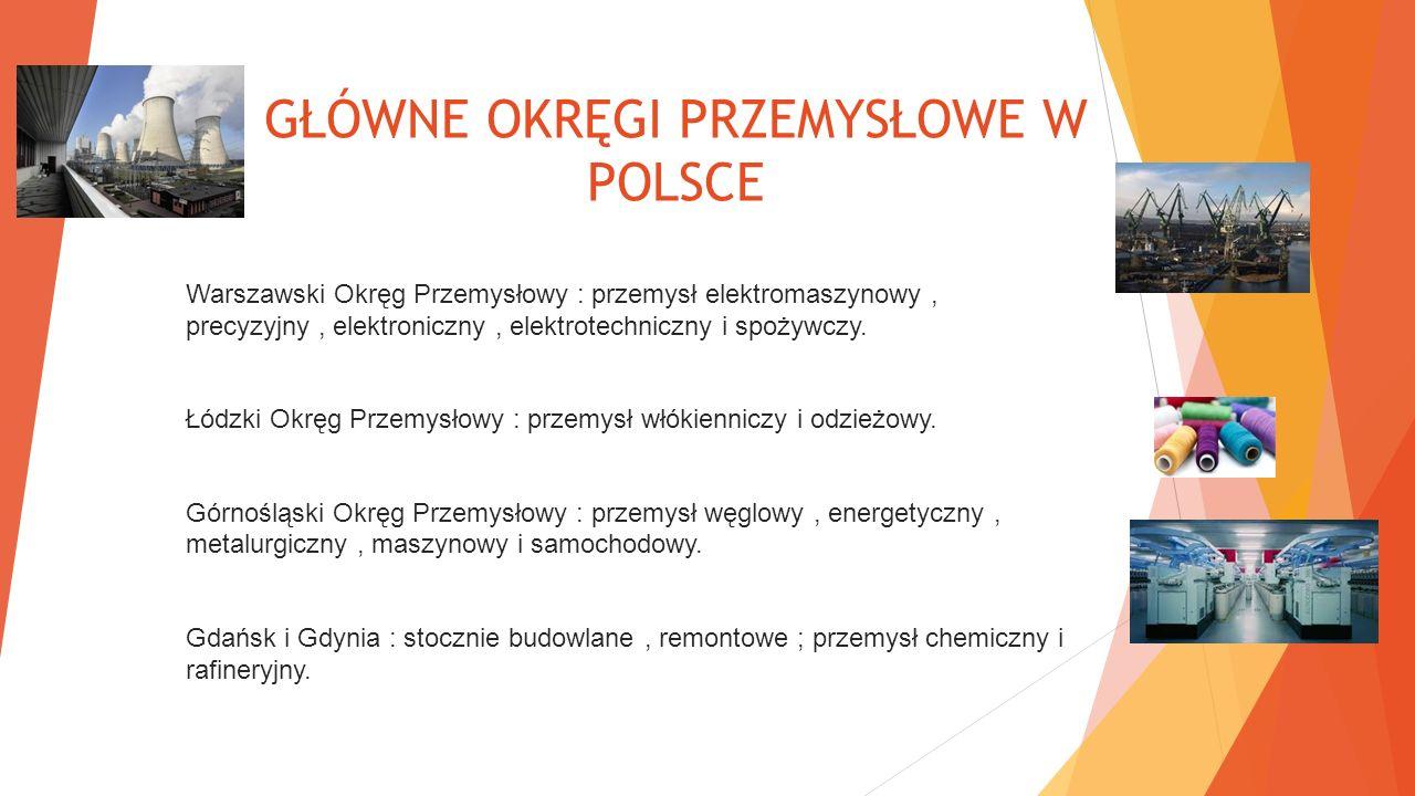GŁÓWNE OKRĘGI PRZEMYSŁOWE W POLSCE Warszawski Okręg Przemysłowy : przemysł elektromaszynowy, precyzyjny, elektroniczny, elektrotechniczny i spożywczy.