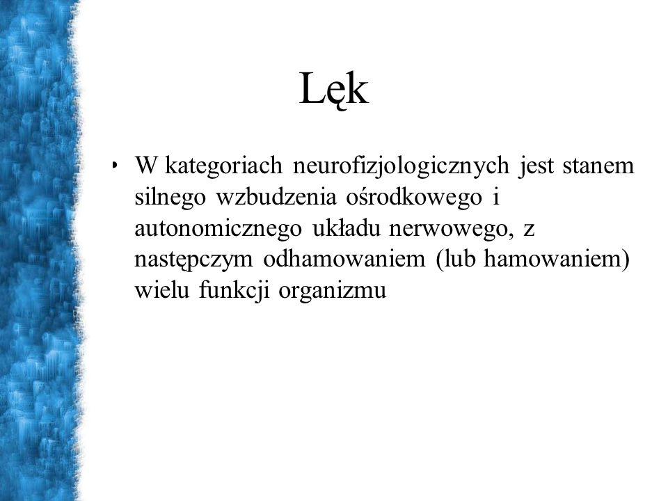 Lęk W kategoriach neurofizjologicznych jest stanem silnego wzbudzenia ośrodkowego i autonomicznego układu nerwowego, z następczym odhamowaniem (lub ha