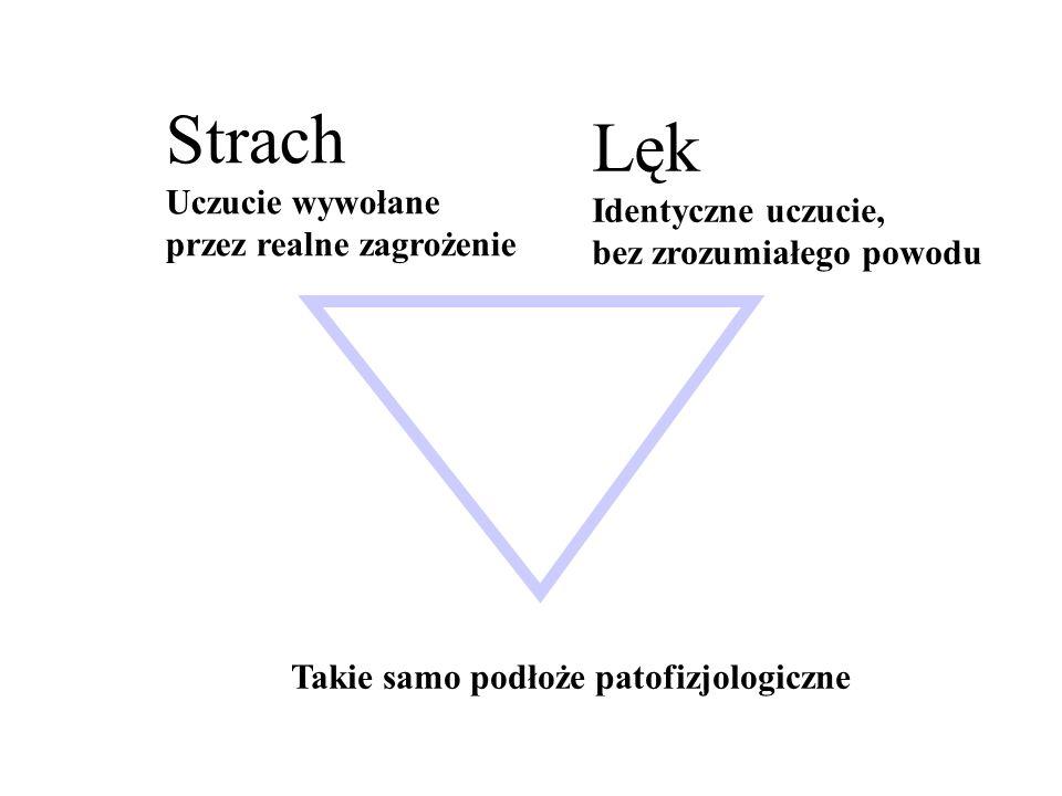 Lęk i strach Lęk znaczny odczyn wegetatywny (adrenerg.) przyczyna nieokreślona STAN LĘKOWY-lęk o mniejszym natężeniu i długim czasie trwania (zab.