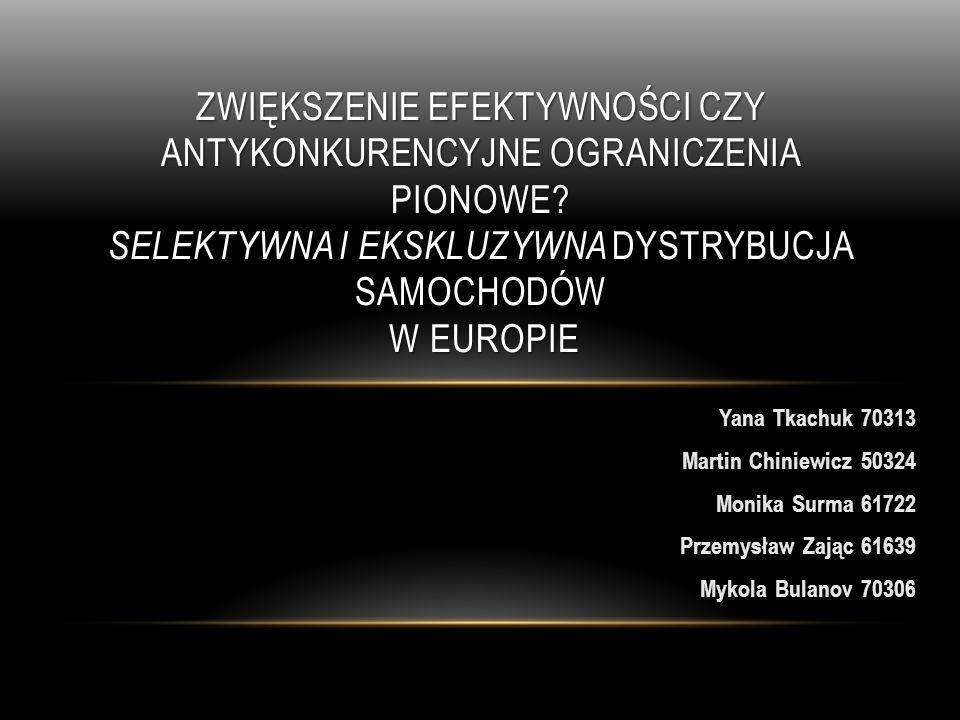 AGENDA 1.Porozumienia pionowe 2.Rodzaje dystrybucji samochodów 3.UE, a konkurencyjność (Art.