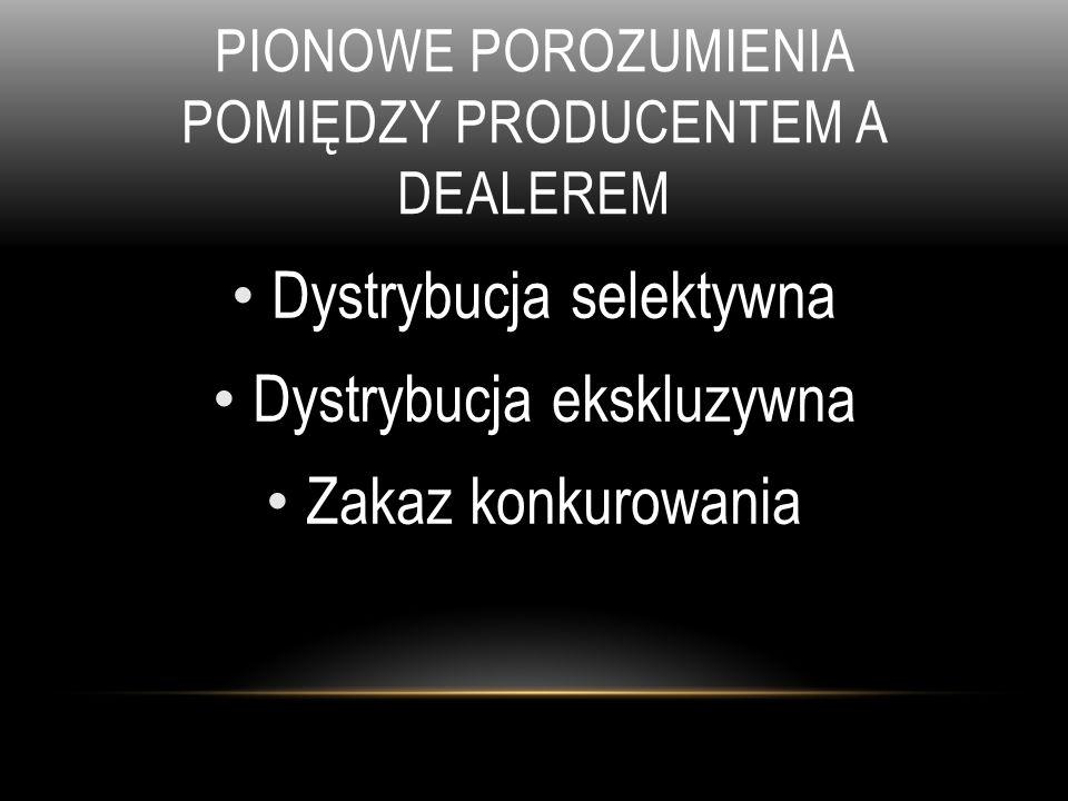 PIONOWE POROZUMIENIA POMIĘDZY PRODUCENTEM A DEALEREM Dystrybucja selektywna Dystrybucja ekskluzywna Zakaz konkurowania