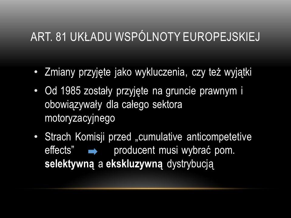ART. 81 UKŁADU WSPÓLNOTY EUROPEJSKIEJ Zmiany przyjęte jako wykluczenia, czy też wyjątki Od 1985 zostały przyjęte na gruncie prawnym i obowiązywały dla