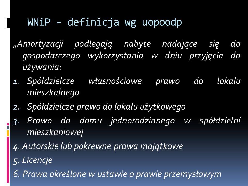"""WNiP – definicja wg uopoodp """"Amortyzacji podlegają nabyte nadające się do gospodarczego wykorzystania w dniu przyjęcia do używania: 1."""