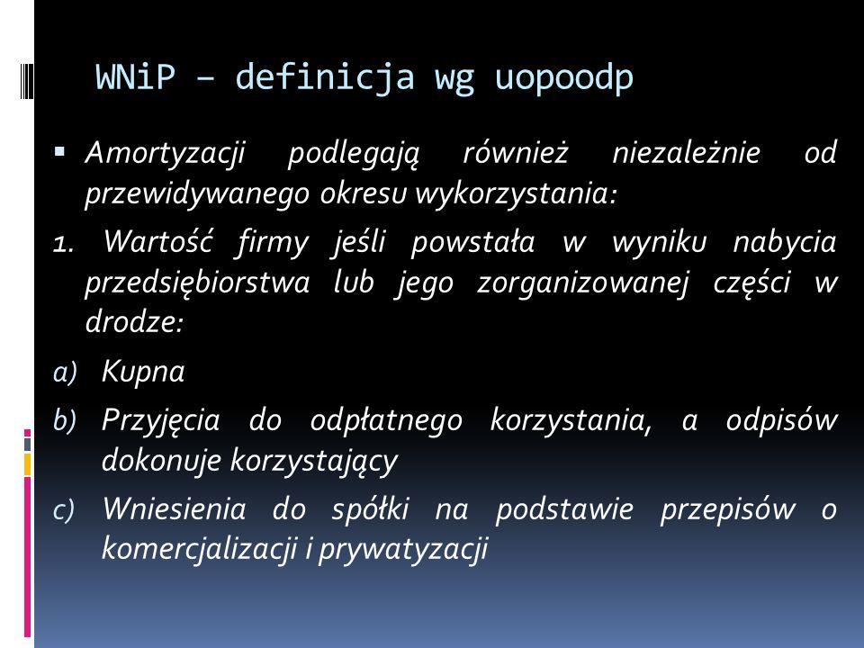WNiP – definicja wg uopoodp  Amortyzacji podlegają również niezależnie od przewidywanego okresu wykorzystania: 1.