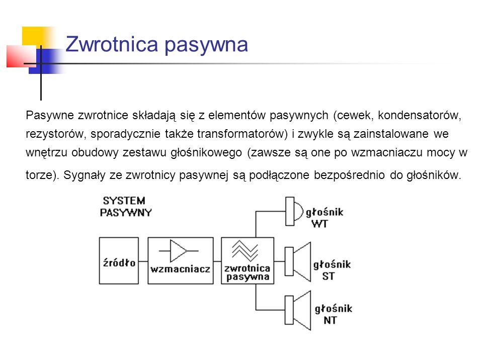 Zwrotnica pasywna Pasywne zwrotnice składają się z elementów pasywnych (cewek, kondensatorów, rezystorów, sporadycznie także transformatorów) i zwykle są zainstalowane we wnętrzu obudowy zestawu głośnikowego (zawsze są one po wzmacniaczu mocy w torze).