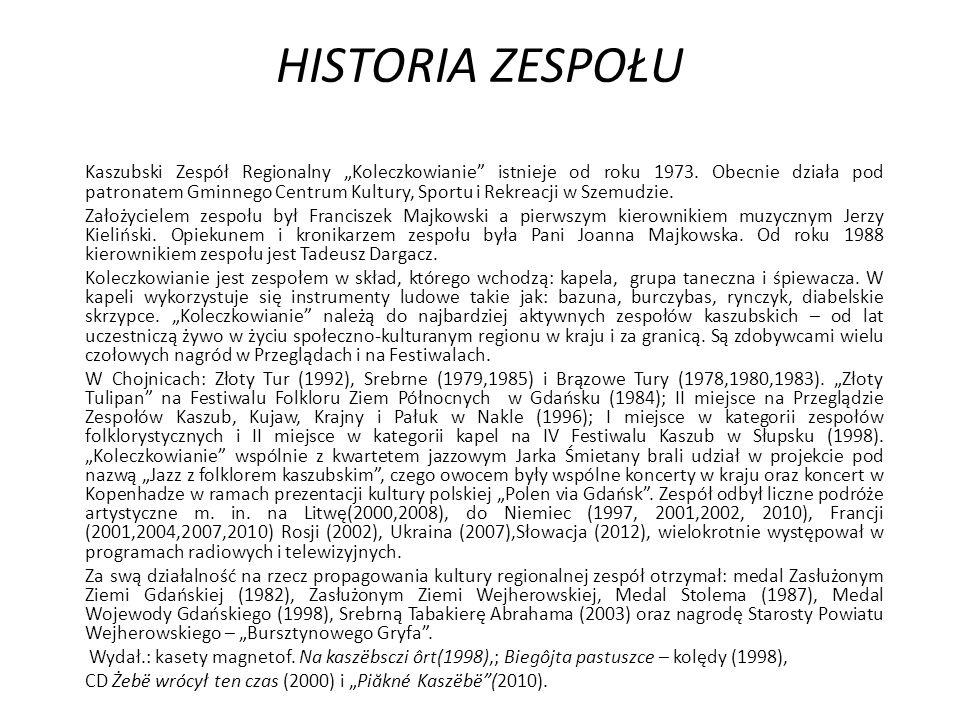 """HISTORIA ZESPOŁU Kaszubski Zespół Regionalny """"Koleczkowianie istnieje od roku 1973."""