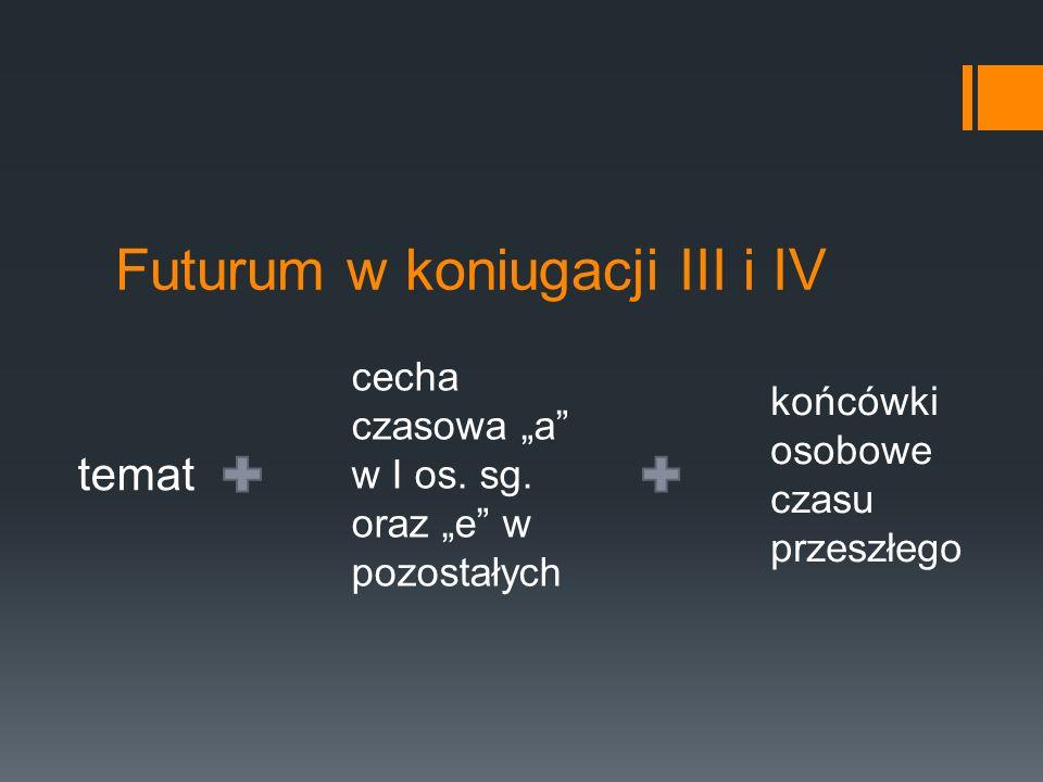 """Futurum w koniugacji III i IV temat cecha czasowa """"a"""" w I os. sg. oraz """"e"""" w pozostałych końcówki osobowe czasu przeszłego"""