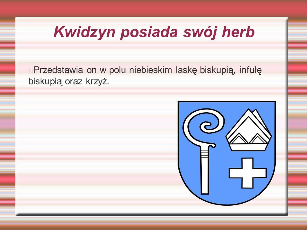 Kwidzyn posiada swój herb Przedstawia on w polu niebieskim laskę biskupią, infułę biskupią oraz krzyż.