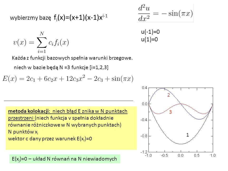 u(-1)=0 u(1)=0 metoda kolokacji: niech błąd E znika w N punktach przestrzeni (niech funkcja v spełnia dokładnie równanie różniczkowe w N wybranych punktach) N punktów x i wektor c dany przez warunek E(x i )=0 wybierzmy bazę f i (x)=(x+1)(x-1)x i-1 Każda z funkcji bazowych spełnia warunki brzegowe.