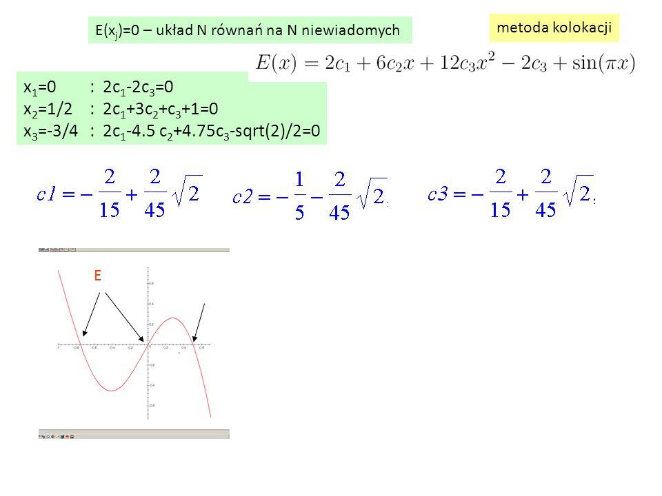 x 1 =0: 2c 1 -2c 3 =0 x 2 =1/2: 2c 1 +3c 2 +c 3 +1=0 x 3 =-3/4: 2c 1 -4.5 c 2 +4.75c 3 -sqrt(2)/2=0 E(x j )=0 – układ N równań na N niewiadomych metoda kolokacji E