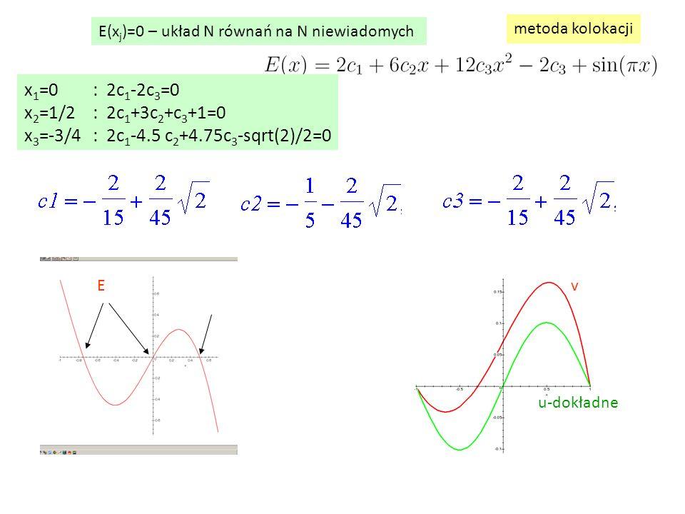 E(x j )=0 – układ N równań na N niewiadomych metoda kolokacji E u-dokładne v x 1 =0: 2c 1 -2c 3 =0 x 2 =1/2: 2c 1 +3c 2 +c 3 +1=0 x 3 =-3/4: 2c 1 -4.5 c 2 +4.75c 3 -sqrt(2)/2=0