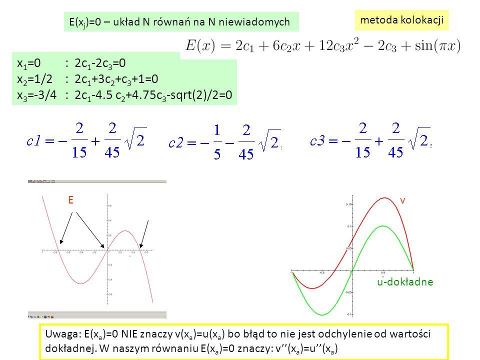 x 1 =0: 2c 1 -2c 3 =0 x 2 =1/2: 2c 1 +3c 2 +c 3 +1=0 x 3 =-3/4: 2c 1 -4.5 c 2 +4.75c 3 -sqrt(2)/2=0 E(x j )=0 – układ N równań na N niewiadomych metoda kolokacji E u-dokładne v Uwaga: E(x a )=0 NIE znaczy v(x a )=u(x a ) bo błąd to nie jest odchylenie od wartości dokładnej.