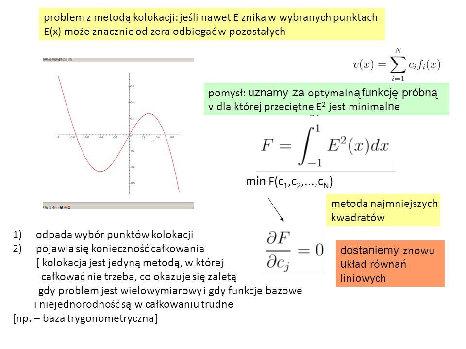 problem z metodą kolokacji: jeśli nawet E znika w wybranych punktach E(x) może znacznie od zera odbiegać w pozostałych min F(c 1,c 2,...,c N ) dostaniemy znowu u kład równań liniowych 1)odpada wybór punktów kolokacji 2)pojawia się konieczność całkowania [ kolokacja jest jedyną metodą, w której całkować nie trzeba, co okazuje się zaletą gdy problem jest wielowymiarowy i gdy funkcje bazowe i niejednorodność są w całkowaniu trudne [np.