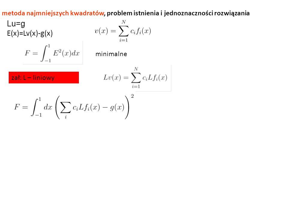 metoda najmniejszych kwadratów, problem istnienia i jednoznaczności rozwiązania Lu=g E(x)=Lv(x)-g(x) minimalne zał: L – liniowy