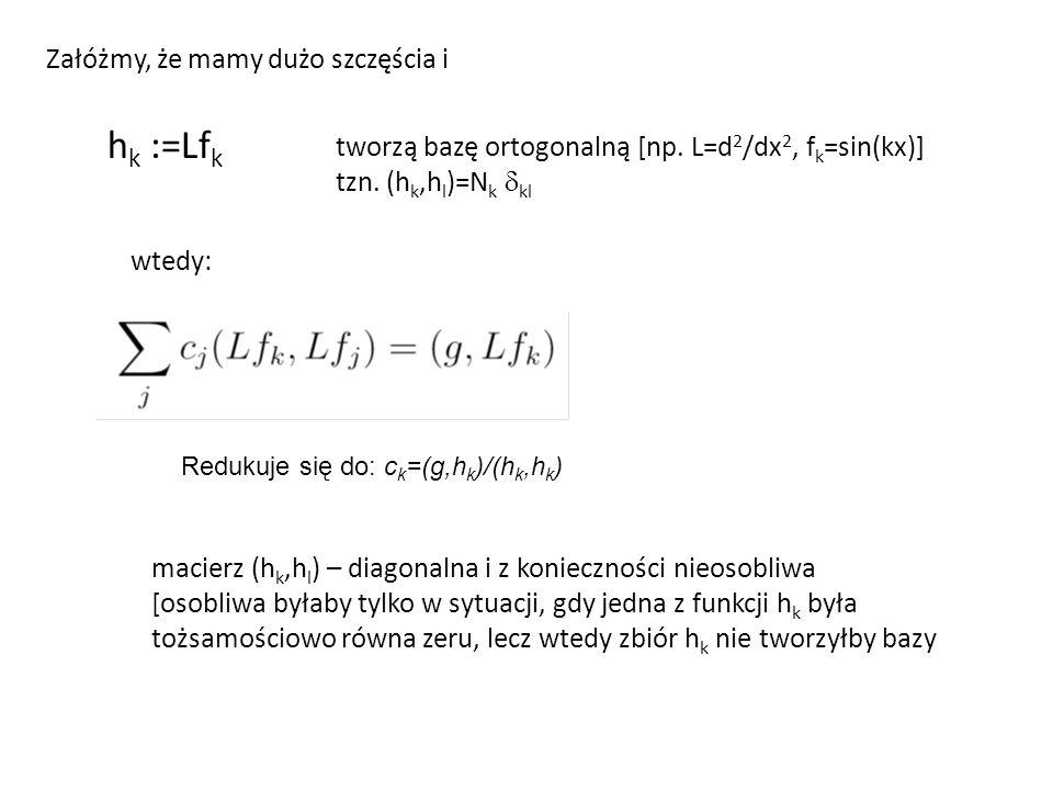 Załóżmy, że mamy dużo szczęścia i h k :=Lf k tworzą bazę ortogonalną [np.