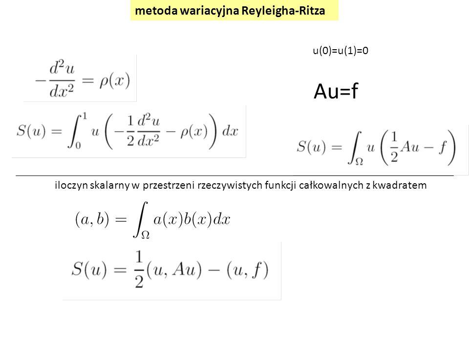 Au=f metoda wariacyjna Reyleigha-Ritza u(0)=u(1)=0 iloczyn skalarny w przestrzeni rzeczywistych funkcji całkowalnych z kwadratem