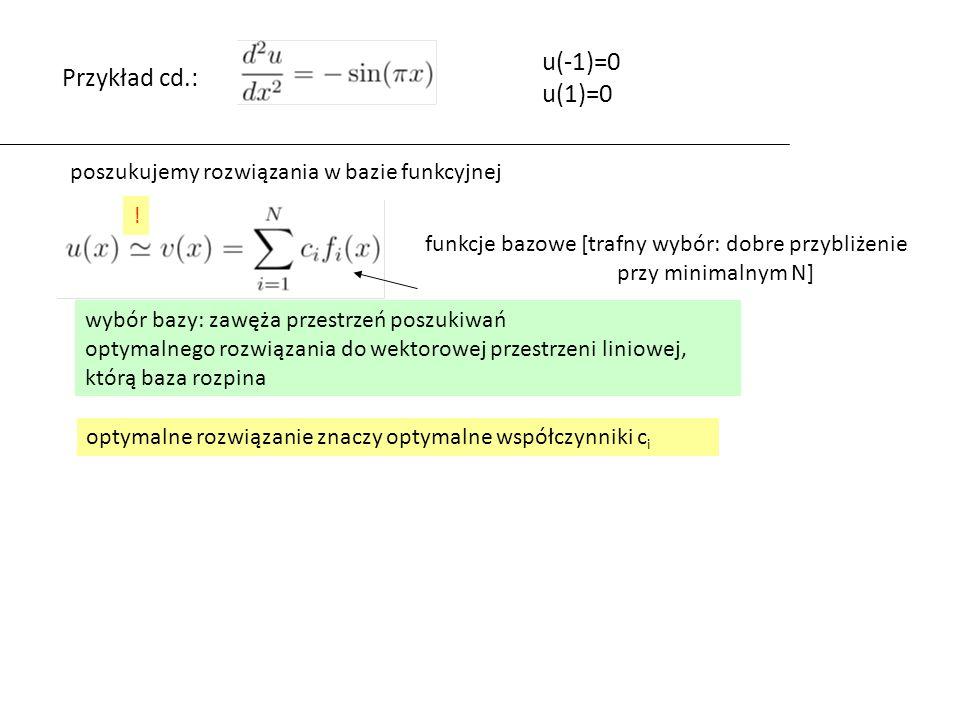 E(x)=Lv(x)-g(x) ortonormalizacja GS: z jednej bazy przechodzimy do drugiej (ortonormalnej) przestrzeń rozpięta przez obydwie bazy jest identyczna [przy pomocy 1,x,x 2 można wygenerować przestrzeń wielomianów 2 stopnia tak samo dobrze jak przy pomocy L 0,L 1,L 2 baza nieortonormalna jest mniej wygodna, ale równie elastyczna] problem znalezienia takiego v aby F – minimalny ma to samo rozwiązanie dla bazy przed i po ortonormalizacji