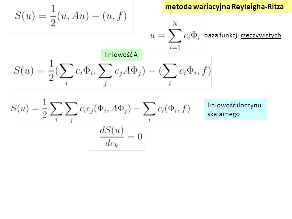 liniowość iloczynu skalarnego metoda wariacyjna Reyleigha-Ritza liniowość A baza funkcji rzeczywistych