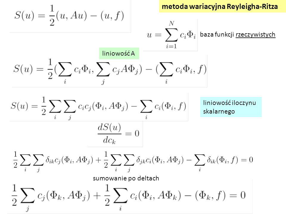 liniowość iloczynu skalarnego metoda wariacyjna Reyleigha-Ritza sumowanie po deltach liniowość A baza funkcji rzeczywistych
