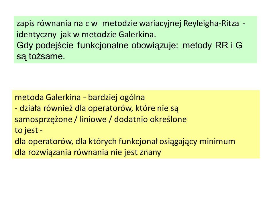 zapis równania na c w metodzie wariacyjnej Reyleigha-Ritza - identyczny jak w metodzie Galerkina.