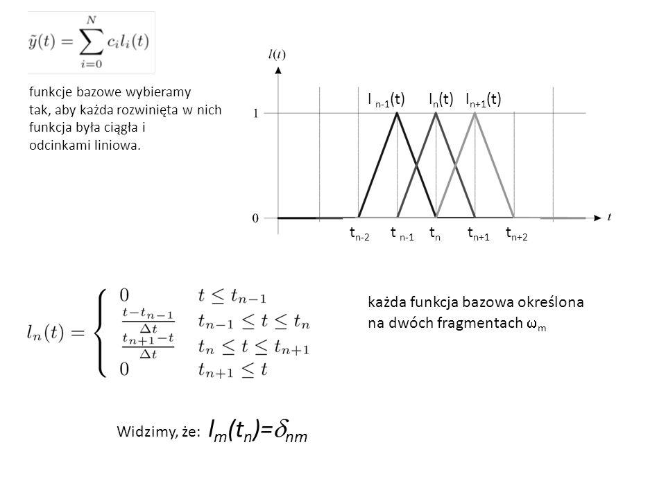 każda funkcja bazowa określona na dwóch fragmentach  m funkcje bazowe wybieramy tak, aby każda rozwinięta w nich funkcja była ciągła i odcinkami liniowa.
