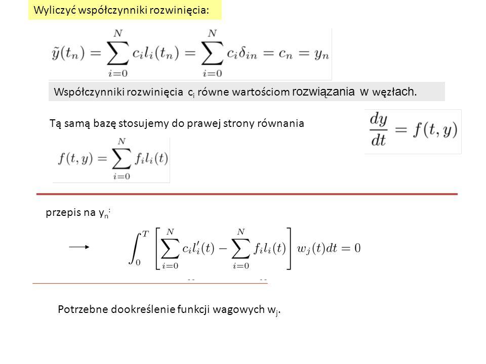 Wyliczyć współczynniki rozwinięcia: Współczynniki rozwinięcia c i równe wartościom rozwiązania w węzł ach.