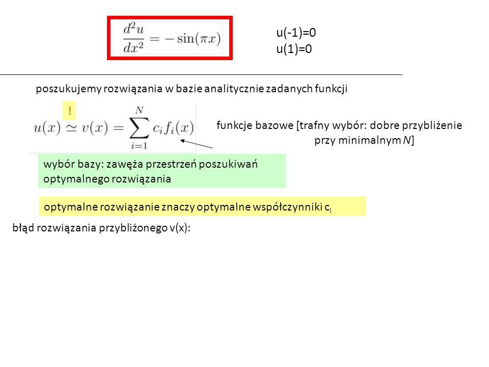 funkcje bazowe [trafny wybór: dobre przybliżenie przy minimalnym N] optymalne rozwiązanie znaczy optymalne współczynniki c i błąd rozwiązania przybliżonego v(x): u(-1)=0 u(1)=0 poszukujemy rozwiązania w bazie analitycznie zadanych funkcji .