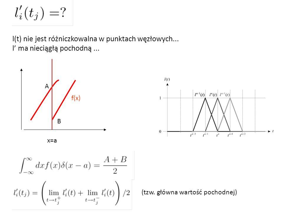l(t) nie jest różniczkowalna w punktach węzłowych...