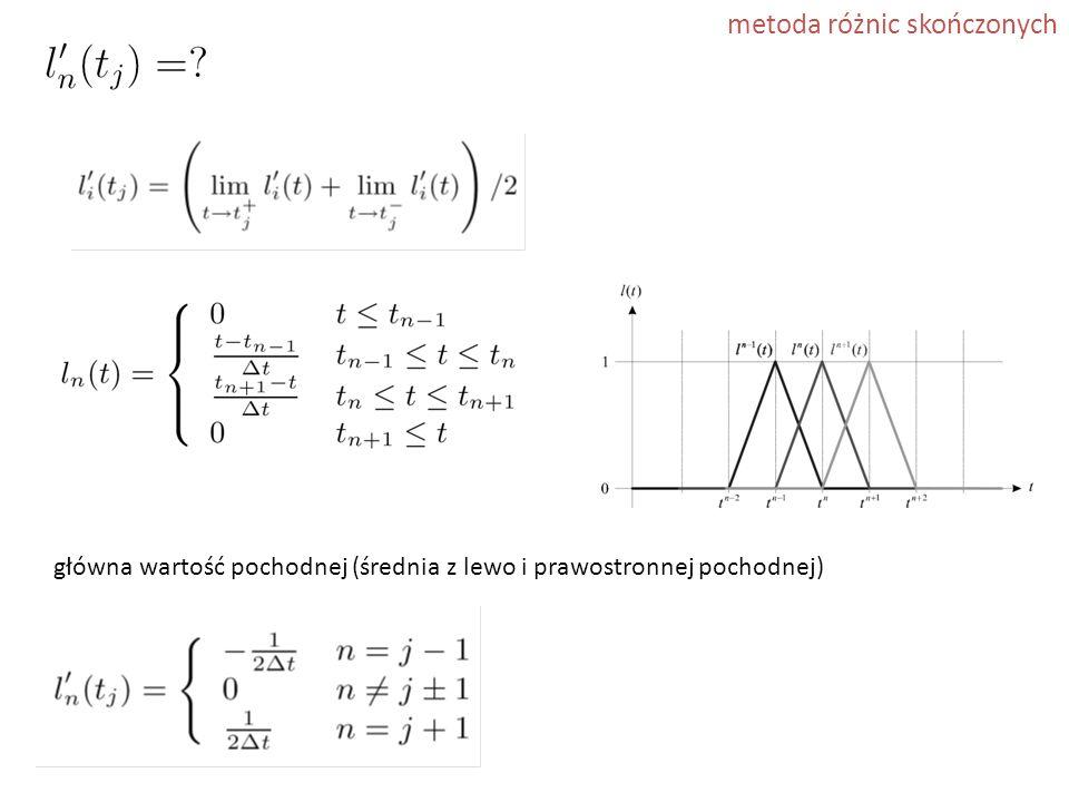 metoda różnic skończonych główna wartość pochodnej (średnia z lewo i prawostronnej pochodnej)