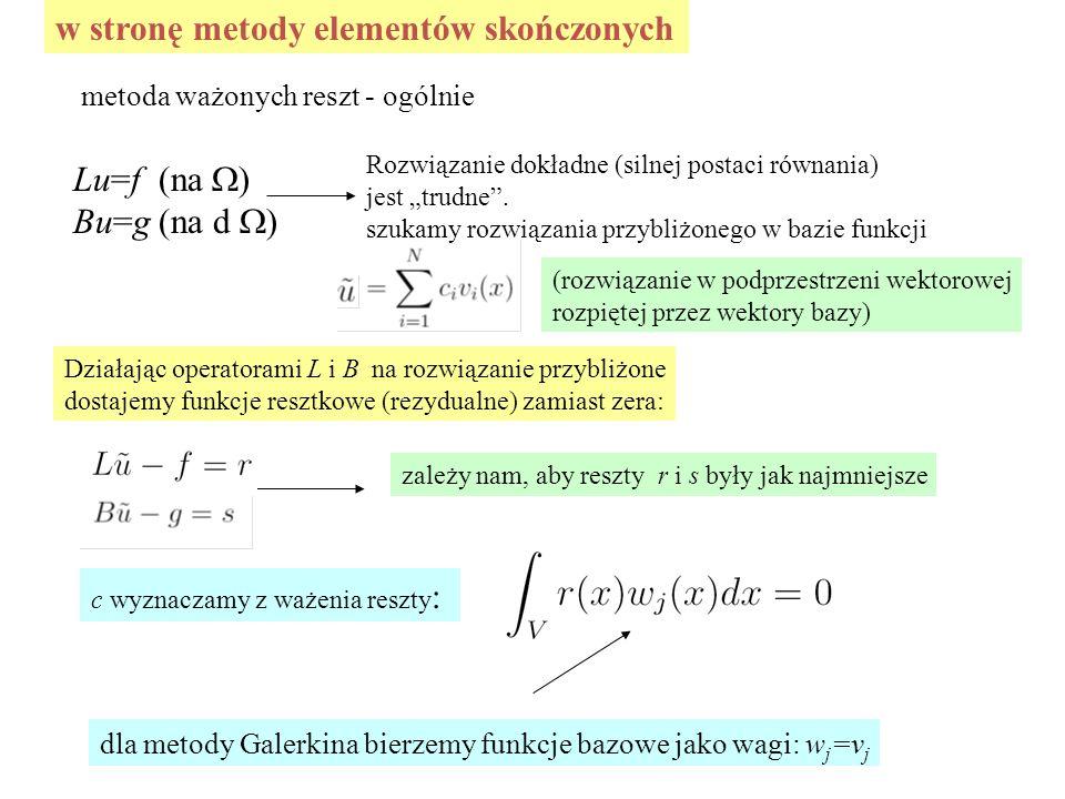 """w stronę metody elementów skończonych metoda ważonych reszt - ogólnie Lu=f (na  ) Bu=g (na d  ) Rozwiązanie dokładne (silnej postaci równania) jest """"trudne ."""