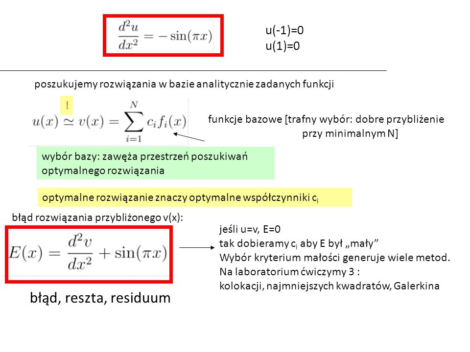 Au=f zamiast wprowadzać błąd E, można po prostu wstawić funkcję próbną do oryginalnego równania chcemy znaleźć taki element przestrzeni a by: słaba forma równania błąd E=Au-f: ortogonalny do każdego wektora bazowego (E,v j )=0 błąd (residuum) znajduje się poza przestrzenią generowaną przez wybraną bazę metoda Galerkina: residuum a przestrzeń wektorowa rozpięta przez wektory wybranej bazy a potem wyrzutować lewą i prawą stronę na j-ty element bazowy (Au,v j )=(f,v j )