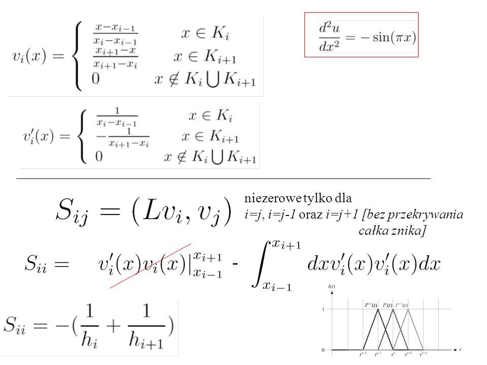 niezerowe tylko dla i=j, i=j-1 oraz i=j+1 [bez przekrywania całka znika] -