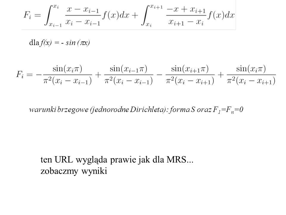 dla f(x) = - sin (  x) warunki brzegowe (jednorodne Dirichleta): forma S oraz F 1 =F n =0 ten URL wygląda prawie jak dla MRS...