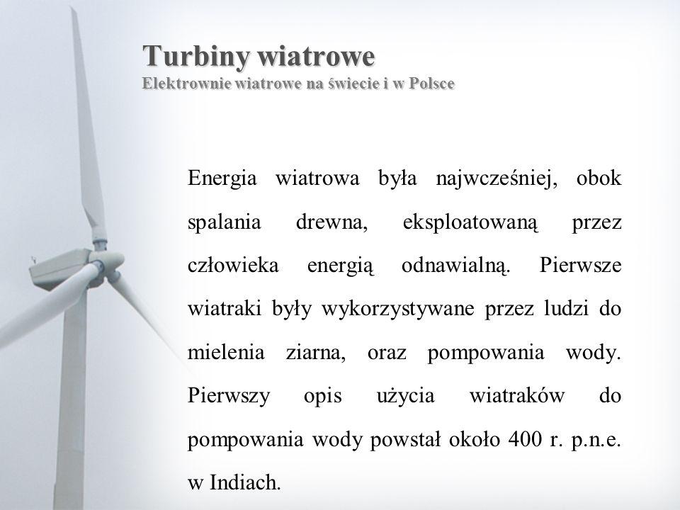 Turbiny wiatrowe Elektrownie wiatrowe na świecie i w Polsce Energia wiatrowa była najwcześniej, obok spalania drewna, eksploatowaną przez człowieka en