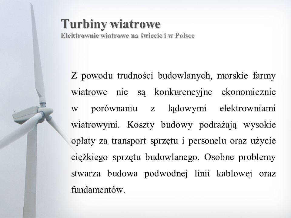 Turbiny wiatrowe Elektrownie wiatrowe na świecie i w Polsce Z powodu trudności budowlanych, morskie farmy wiatrowe nie są konkurencyjne ekonomicznie w porównaniu z lądowymi elektrowniami wiatrowymi.
