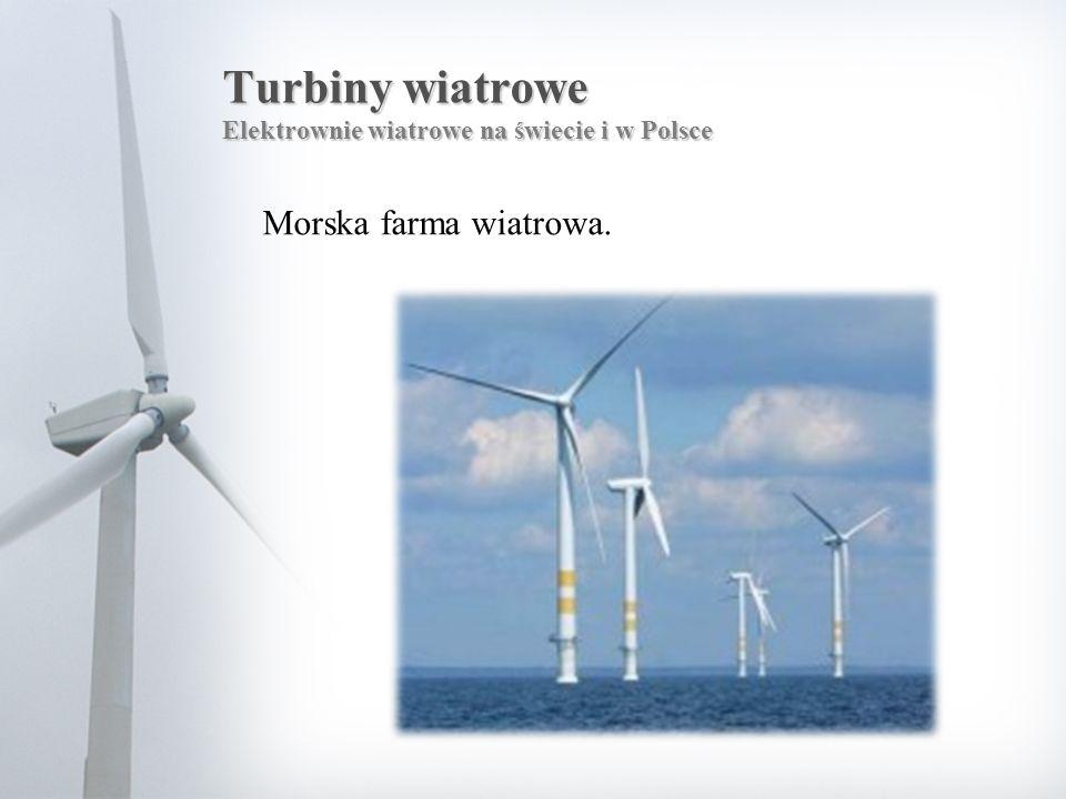 Turbiny wiatrowe Elektrownie wiatrowe na świecie i w Polsce Morska farma wiatrowa.