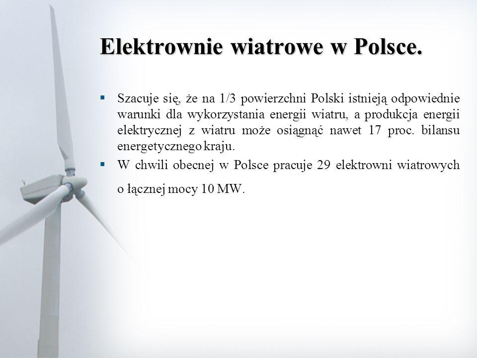 Elektrownie wiatrowe w Polsce.  Szacuje się, że na 1/3 powierzchni Polski istnieją odpowiednie warunki dla wykorzystania energii wiatru, a produkcja