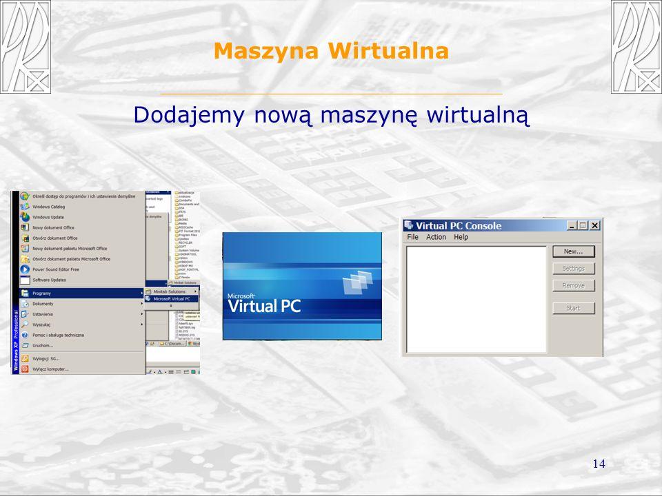 14 Maszyna Wirtualna Dodajemy nową maszynę wirtualną