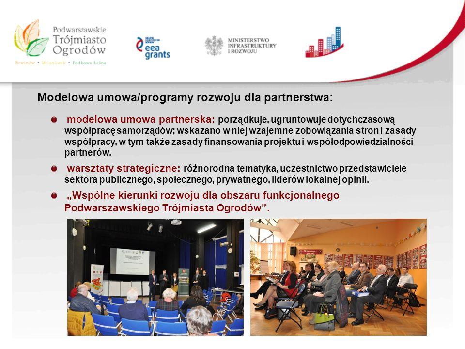 modelowa umowa partnerska: porządkuje, ugruntowuje dotychczasową współpracę samorządów; wskazano w niej wzajemne zobowiązania stron i zasady współpracy, w tym także zasady finansowania projektu i współodpowiedzialności partnerów.
