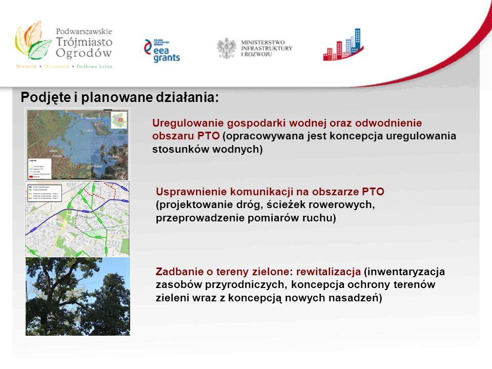 Podjęte i planowane działania: Uregulowanie gospodarki wodnej oraz odwodnienie obszaru PTO (opracowywana jest koncepcja uregulowania stosunków wodnych) Usprawnienie komunikacji na obszarze PTO (projektowanie dróg, ścieżek rowerowych, przeprowadzenie pomiarów ruchu) Zadbanie o tereny zielone: rewitalizacja (inwentaryzacja zasobów przyrodniczych, koncepcja ochrony terenów zieleni wraz z koncepcją nowych nasadzeń)