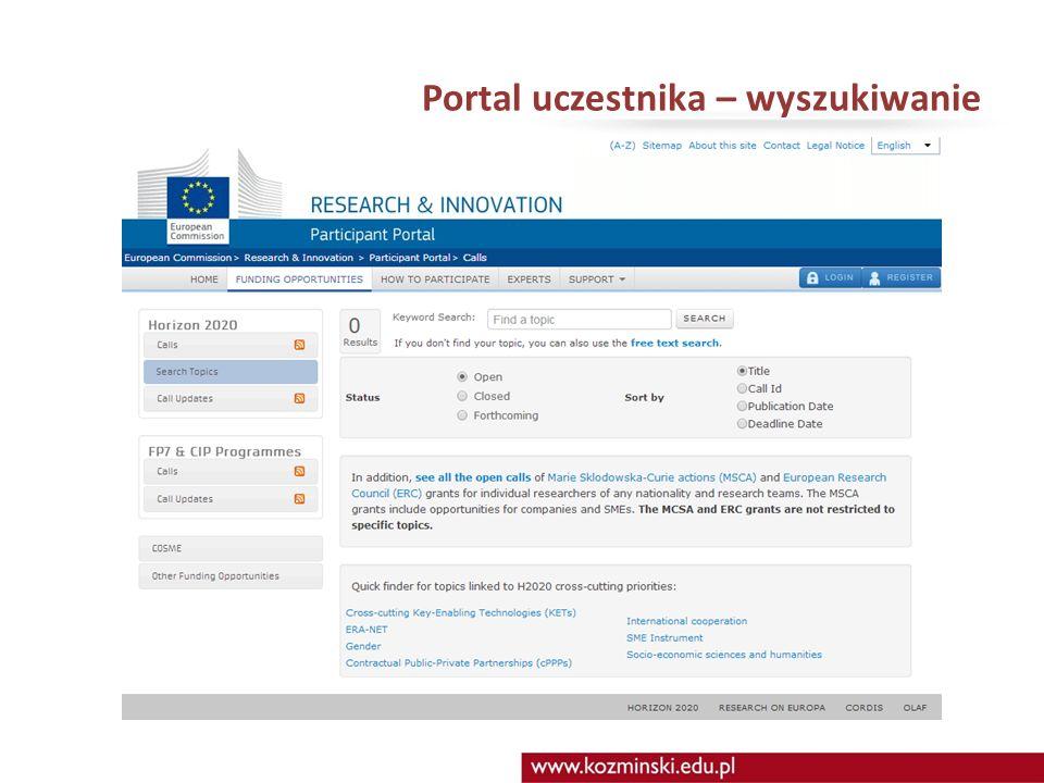 Portal uczestnika – wyszukiwanie