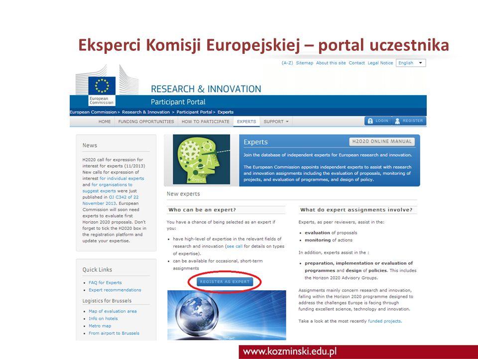 Eksperci Komisji Europejskiej – portal uczestnika
