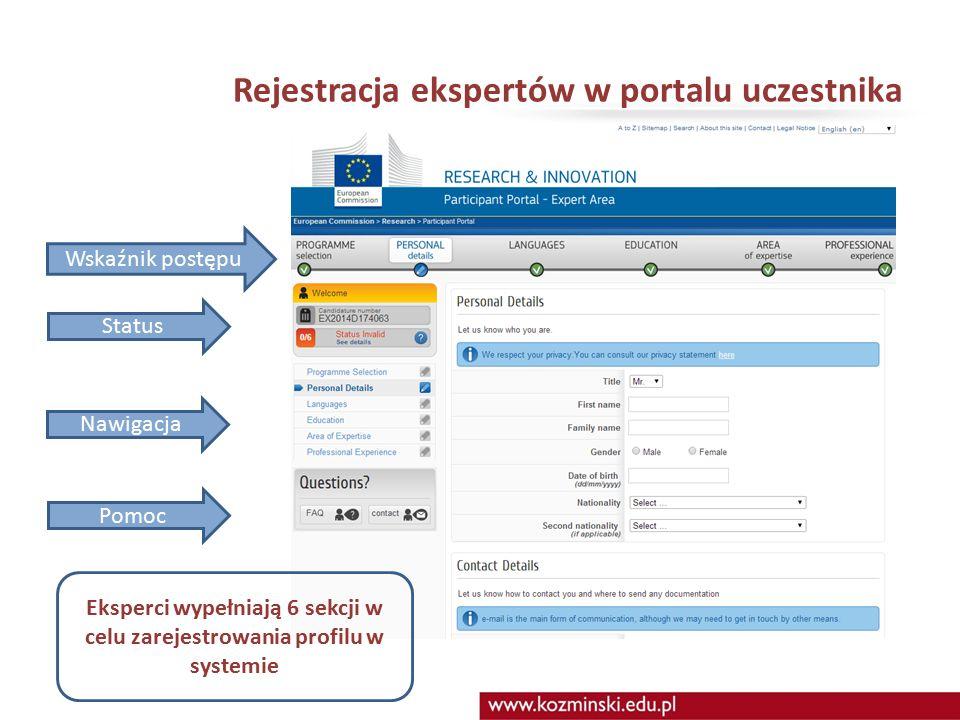 Rejestracja ekspertów w portalu uczestnika Wskaźnik postępu Status Nawigacja Pomoc Eksperci wypełniają 6 sekcji w celu zarejestrowania profilu w systemie