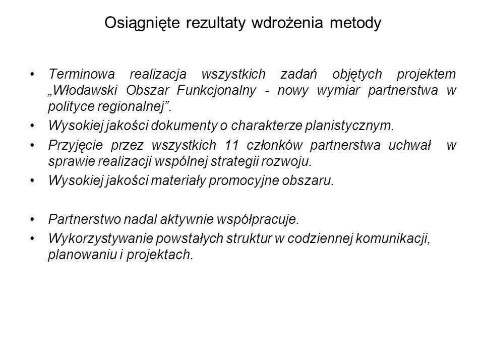 """Osiągnięte rezultaty wdrożenia metody Terminowa realizacja wszystkich zadań objętych projektem """"Włodawski Obszar Funkcjonalny - nowy wymiar partnerstw"""