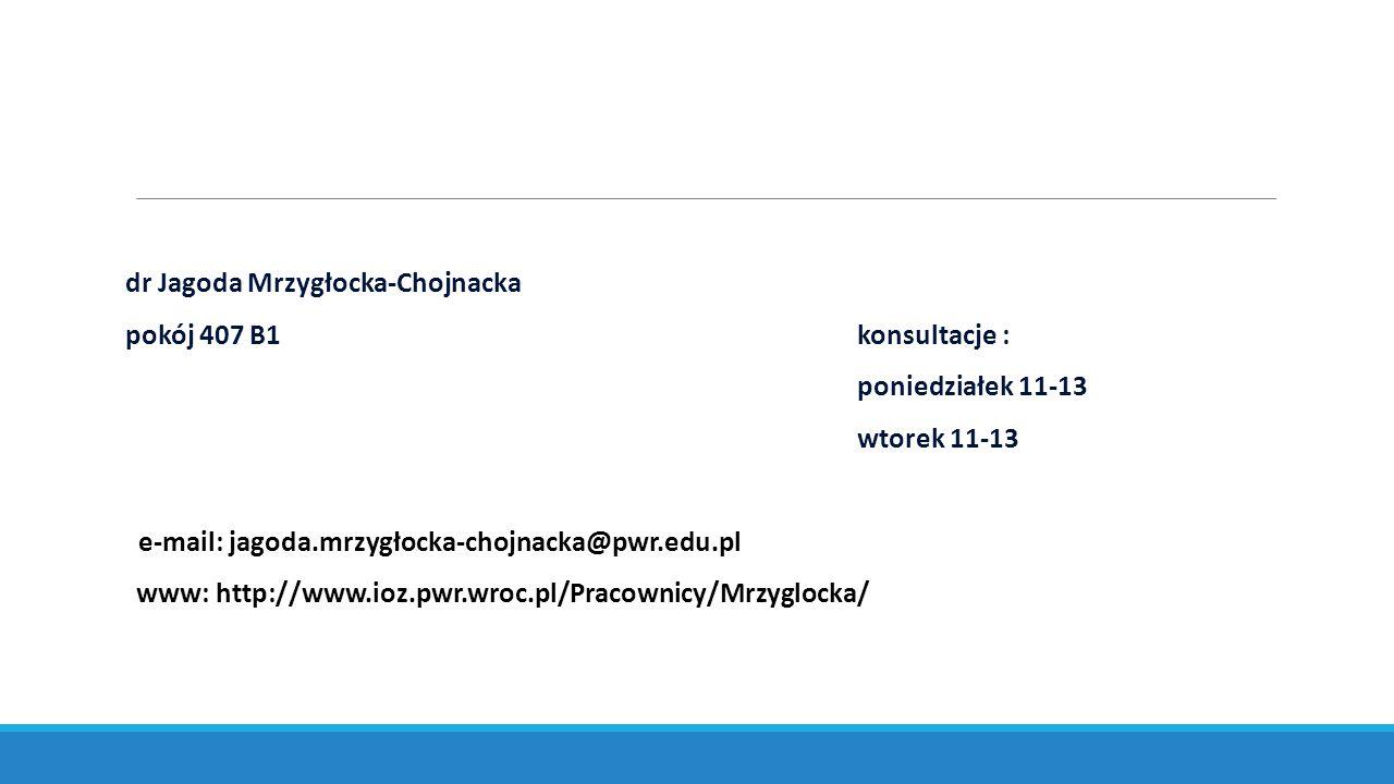 pokój 407 B1konsultacje : poniedziałek 11-13 wtorek 11-13 e-mail: jagoda.mrzygłocka-chojnacka@pwr.edu.pl www: http://www.ioz.pwr.wroc.pl/Pracownicy/Mrzyglocka/