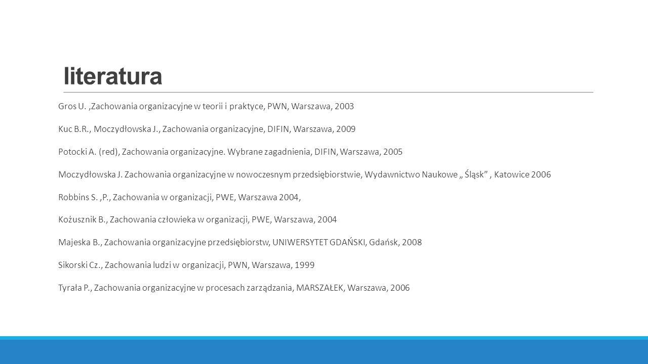 literatura Gros U.,Zachowania organizacyjne w teorii i praktyce, PWN, Warszawa, 2003 Kuc B.R., Moczydłowska J., Zachowania organizacyjne, DIFIN, Warszawa, 2009 Potocki A.