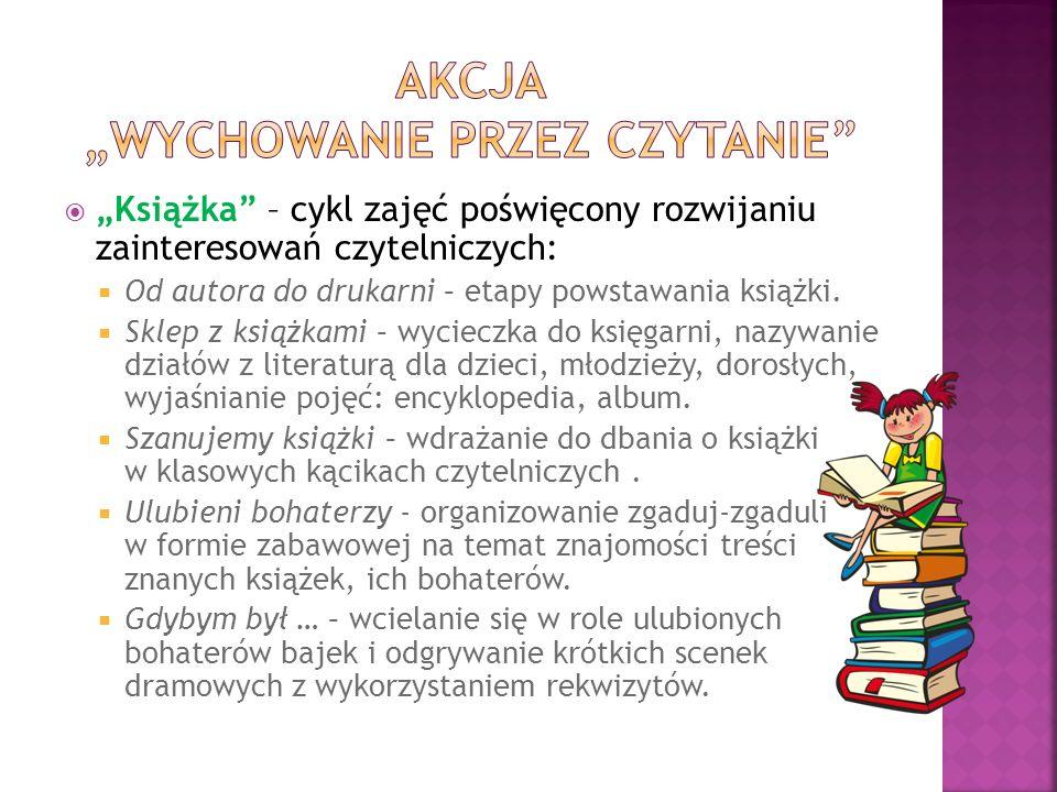 """ """"Książka – cykl zajęć poświęcony rozwijaniu zainteresowań czytelniczych:  Od autora do drukarni – etapy powstawania książki."""