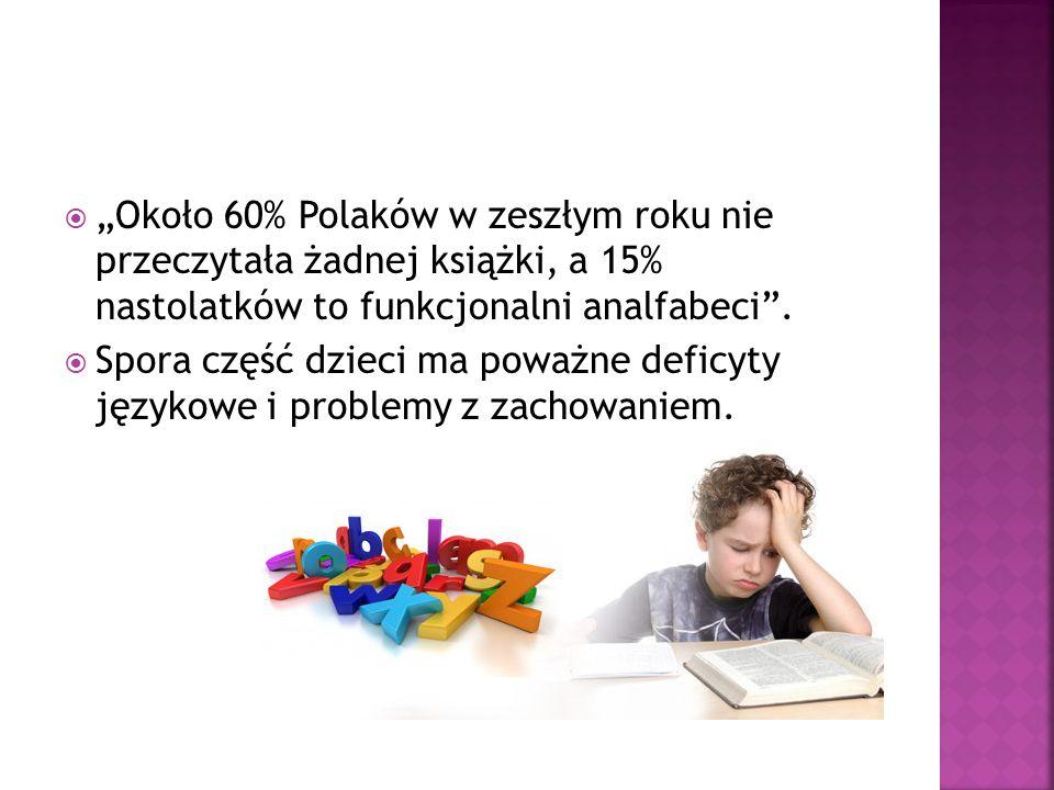 """ """"Około 60% Polaków w zeszłym roku nie przeczytała żadnej książki, a 15% nastolatków to funkcjonalni analfabeci ."""
