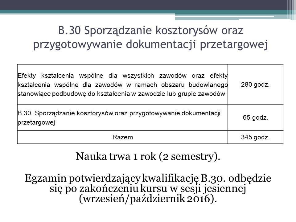 B.30 Sporządzanie kosztorysów oraz przygotowywanie dokumentacji przetargowej Nauka trwa 1 rok (2 semestry). Egzamin potwierdzający kwalifikację B.30.