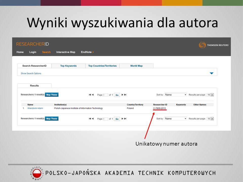 Wyniki wyszukiwania dla autora Unikatowy numer autora
